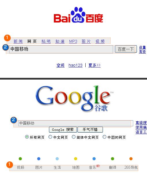 UIから見るGoogle中国と百度の差